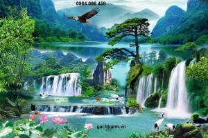 Tranh gạch 3d phong cảnh thác nước cành đào QY761