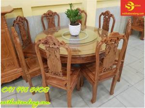 Bộ bàn ăn mâm xoay gỗ hương
