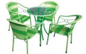 Bàn ghế cafe mây nhựa giá rẻ tại xưởng sản xuất HGH 1068