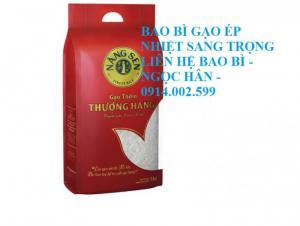 Túi gạo ép nhiệt sang trọng, thấy gạo bên trong qua cửa sổ 5kg