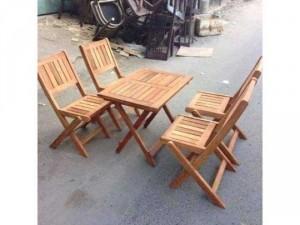 Bộ bàn ghế gỗ xếp