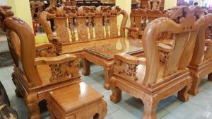 Bộ bàn ghế tay 14 chạm đào mặt nguyên tấm