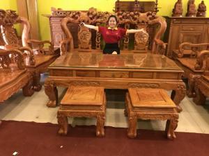 Bộ bàn ghế chạm đào tay 14 hàng VIP