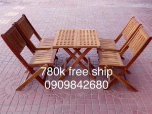 Bàn ghế xếp vuông 50cm, 4 ghế ( bao vận chuyển)