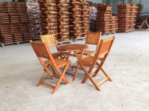 Bàn ghế xếp bát giác 50cm, 4 ghế ( bao vận chuyển)