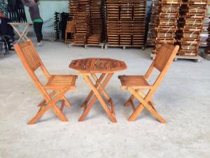 Bàn ghế xếp bát giác 50cm, 2 ghế ( bao vận...