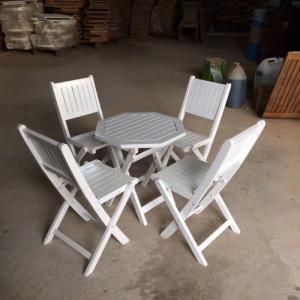 Bàn ghế xếp bát giác sơn 50cm, 4 ghế ( bao vận chuyển)