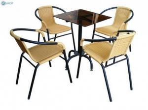 Bàn ghế cafe mây nhựa giá rẻ tại xưởng sản xuất HGH 1123