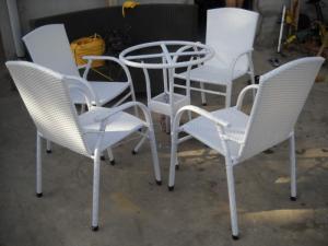 Bàn ghế cafe mây nhựa giá rẻ tại xưởng sản xuất HGH 1136