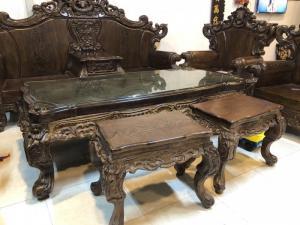 Bộ ghế hoàng gia gỗ mun đuôi công