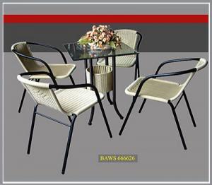 Bàn ghế cafe mây nhựa giá rẻ tại xưởng sản xuất HGH 1141