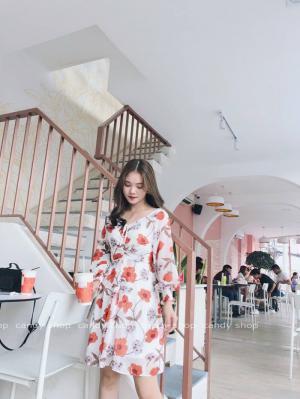Đầm xòe voan hoa đỏ