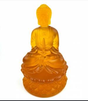 Tượng phật dược sư lưu ly màu vàng cam cao 20 cm