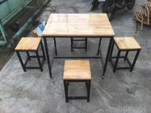 bàn ghế gổ cafe giá rẻ tại xưởng sản xuất HGH 1193