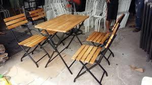 bàn ghế gổ cafe giá rẻ tại xưởng sản xuất HGH 1196