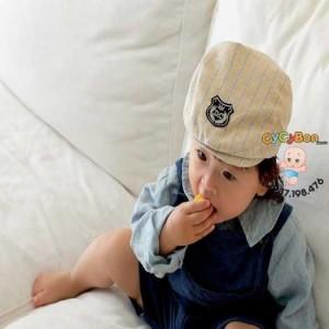 Nón Bere Cho Bé Trai Sọc Thêu Logo Chữ D.C !