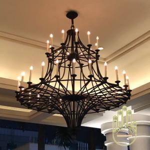 Đèn chùm sắt 2 tầng hiện đại cho sảnh