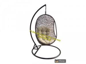 Ghế treo, xích đu đan rối Oval nhựa giả mây ngoài trời