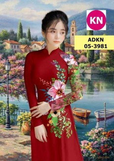 Vải bộ áo dài in đẹp AKN3981 (vải áo và vải quần )