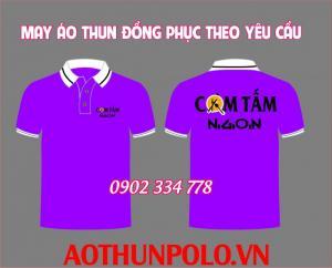 áo thun quán ăn màu tím - xưởng may đồng phuc