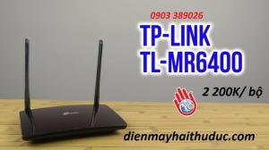 2019-04-29 18:08:08  3 TP-LINK TL-MR6400 được cửa hàng Hải bán chỉ có 2200K/ cái. Bảo hành 24 tháng và có nhân viên giao hàng tận nơi, cài đặt miễn phí. Bộ phát wifi TP-Link TP-MR6400 hỗ trợ sim 3/ 4G LTE 2,200,000
