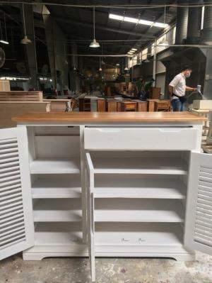 Tủ giày dép gỗ sồi sơn trắng đỉnh sồi 1m2 3 cánh
