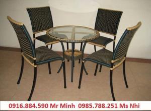 bàn ghế cafe mây nhựa giá rẻ tại xưởng sản xuất HGH 1253