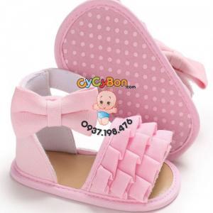 Giày Cho Bé Gái Tập Đi Sandal Hồng Xếp Ly Đính Nơ Hồng