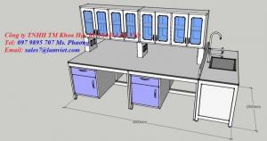 Bàn thí nghiệm trung tâm mặt bàn Trespa - Hà Lan kháng hóa chất (thiết kế theo yêu cầu)