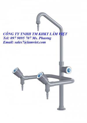 Bồn rửa, vòi 3 nhánh nhựa PVC cho phòng thí nghiệm