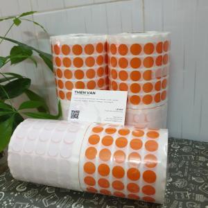 tem tròn dán lỗi màu cam 1.5cm 2cm
