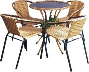 bàn ghế cafe mây nhựa giá rẻ tại xưởng sản xuất HGH 1289