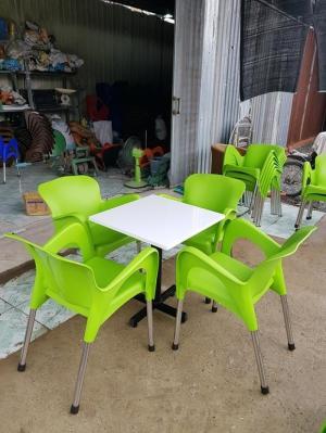 bàn ghế cafe nhựa chân inox giá rẻ