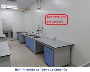 Bàn Thí Nghiệm Áp Tường Có Chậu Rửa – chuẩn phòng Lab vi sinh
