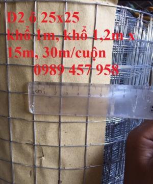 Lưới hàn mạ kẽm phi 2 mắt 25x25 khổ 1m, 1,2m, 1,5m hàng có sẵn