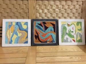 Bộ 3 tranh giấy cuộn Cô gái nude, Tranh đẹp, giàu tính nghệ thuật, kt vuông lòng trong 20x20 cm