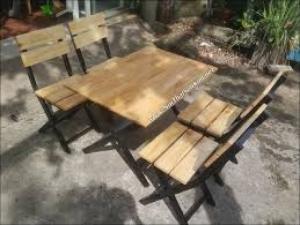 bàn ghế gỗ xếp quán nhậu hgh05