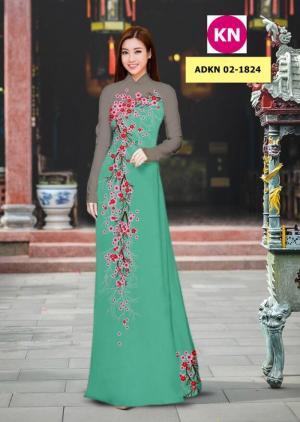 Vải bộ áo dài in đẹp ADKN 02-1824 (vải áo và vải quần )