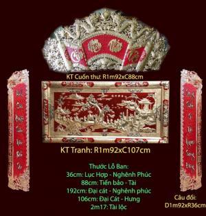 Cuốn Thư Câu đối Đức Lưu Quang chạm đồng đỏ 1m55