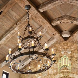 Đèn chùm sắt dạ cổ sang trọng thiết kế 2 tầng, đèn chùm phòng khách, đèn chùm phale