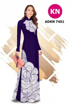 Vải bộ áo dài in đẹp ADKN 7401 (vải áo và vải quần )