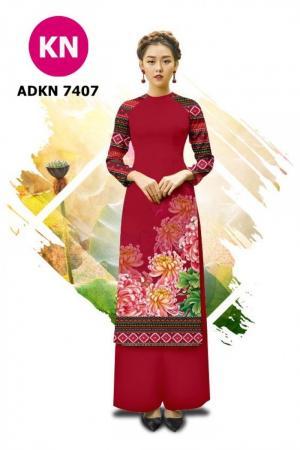 Vải bộ áo dài in đẹp ADKN 7407 (vải áo và vải quần )