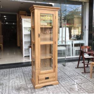 Tủ trưng bày gỗ sồi 1 cánh kính 1 ngăn kéo