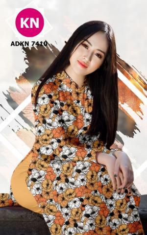 Vải bộ áo dài in đẹp ADKN 7410 (vải áo và vải quần )