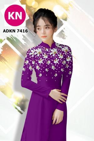 Vải bộ áo dài in đẹp ADKN 7416 (vải áo và vải quần )