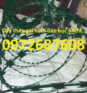 Cung cấp dây kẽm gai lưới dao bọc nhựa làm hàng rào chống trộm giá tốt nhất
