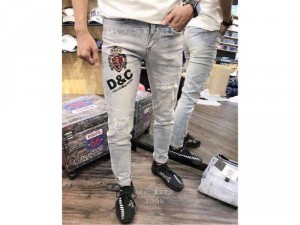 Quần jeans nam wax cao cấp rách gối D&C