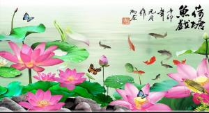 tranh cá chép - gạch tranh 3d cá chép phòng khách hdp02