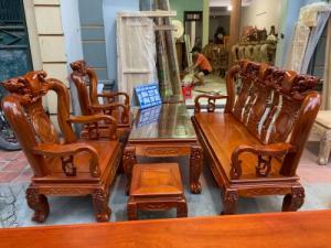 Bộ bàn ghế giả cổ trạm quốc đào gỗ gõ đỏ