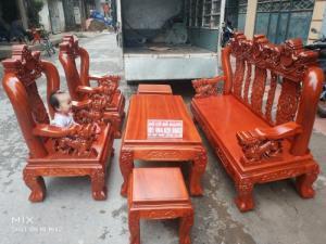Bộ Bàn Ghế Nghê Đỉnh 3 đầu tay 12 gỗ gõ đỏ,kate